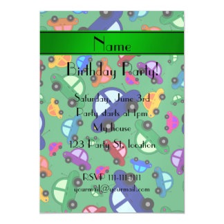 Personalized name green cute car pattern magnetic invitations