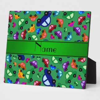 Personalized name green cute car pattern display plaque