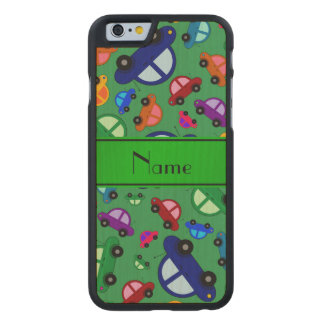 Personalized name green cute car pattern carved® maple iPhone 6 case