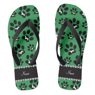 Personalized name green dachshunds dog paws flip flops