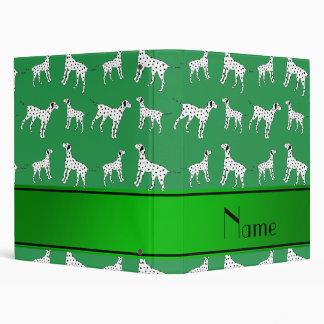 Personalized name green dalmatian dogs binders
