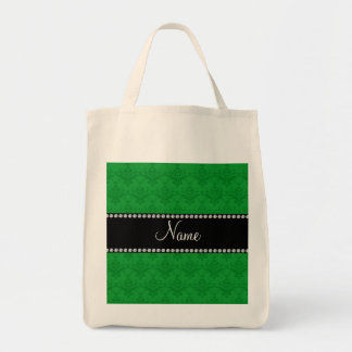 Personalized name Green damask Canvas Bag