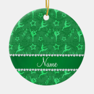 Personalized name green damask gymnastics ceramic ornament