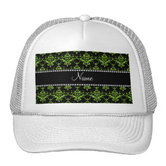 Personalized name green damask trucker hat
