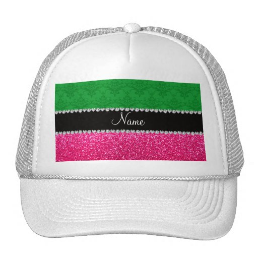 Personalized name green damask pink glitter hat