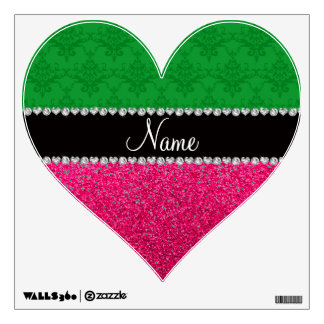 Personalized name green damask pink glitter room graphics
