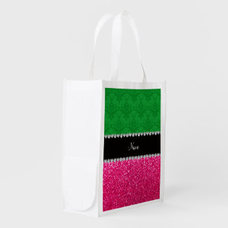 Personalized name green damask pink glitter reusable grocery bag