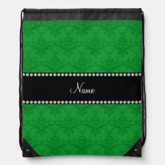 Personalized name Green damask Backpack