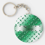 Personalized name green diamond plate steel basic round button keychain
