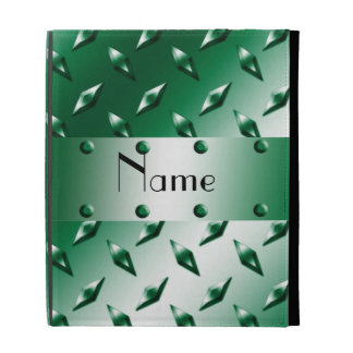 Personalized name green diamond plate steel iPad folio case
