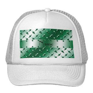 Personalized name green diamond plate steel trucker hats