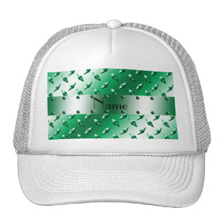 Personalized name green diamond plate steel hats