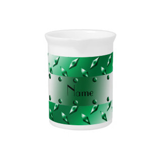 Personalized name green diamond plate steel pitchers