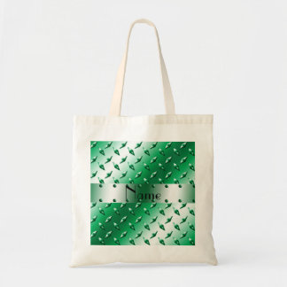 Personalized name green diamond plate steel tote bag