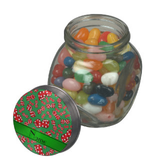 Personalized name green dice pattern jelly belly candy jar