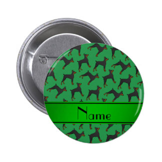Personalized name green doberman pinschers 2 inch round button