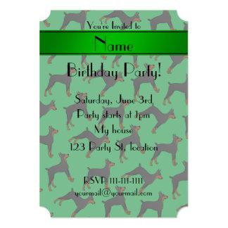 Personalized name green doberman pinschers card