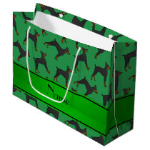 Personalized name green doberman pinschers large gift bag
