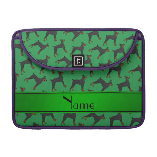 Personalized name green doberman pinschers sleeve for MacBook pro