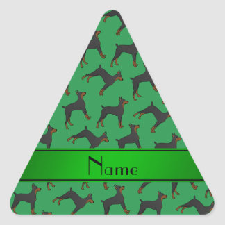 Personalized name green doberman pinschers triangle sticker