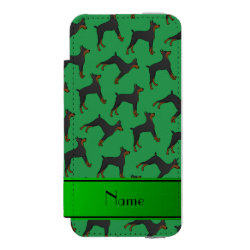 Personalized name green doberman pinschers wallet case for iPhone SE/5/5s