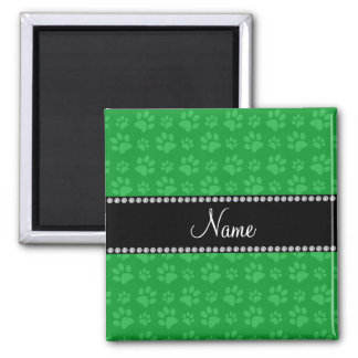 Personalized name green dog paw prints 2 inch square magnet