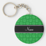 Personalized name green dog paw prints basic round button keychain