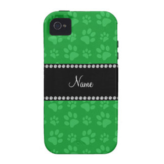 Personalized name green dog paw prints iPhone 4 cases