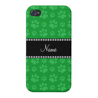 Personalized name green dog paw prints iPhone 4/4S cover