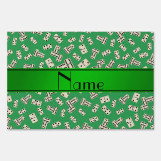 Personalized name green dominos yard sign
