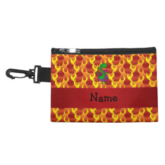 Personalized name green dragon flames accessory bag