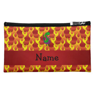 Personalized name green dragon flames makeup bags