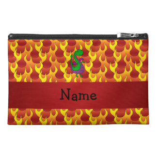 Personalized name green dragon flames travel accessory bag