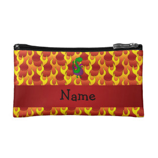 Personalized name green dragon flames cosmetic bag