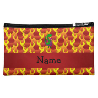 Personalized name green dragon flames cosmetics bags