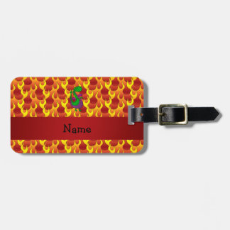 Personalized name green dragon flames bag tag