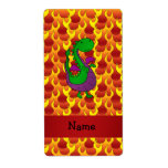 Personalized name green dragon flames personalized shipping label