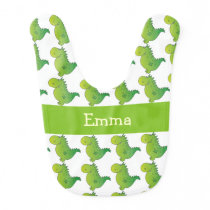 Personalized Name Green Dragon Pattern Baby Bib