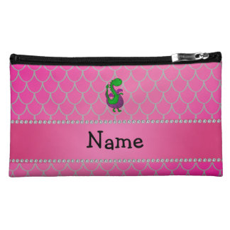 Personalized name green dragon pink scales makeup bags