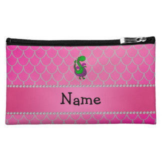 Personalized name green dragon pink scales cosmetics bags