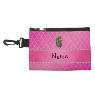 Personalized name green dragon pink scales accessories bags