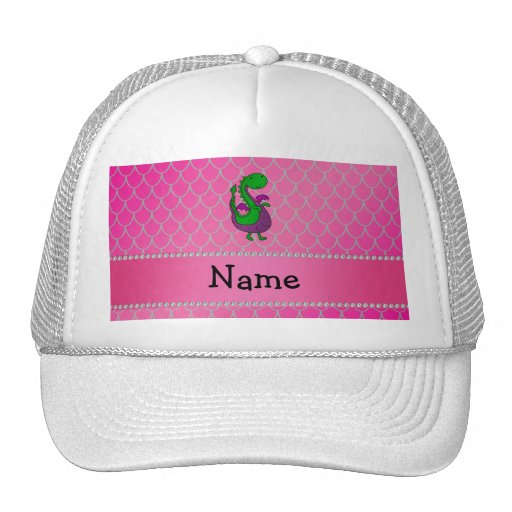 Personalized name green dragon pink scales mesh hats