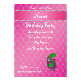 Personalized name green dragon pink scales 5x7 paper invitation card
