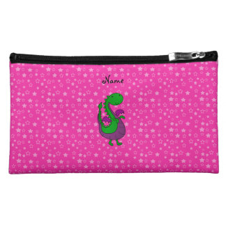 Personalized name green dragon pink stars makeup bags