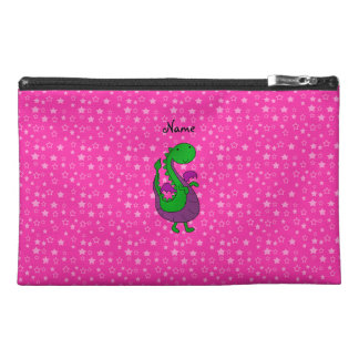 Personalized name green dragon pink stars travel accessory bag