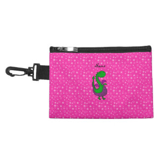 Personalized name green dragon pink stars accessory bags