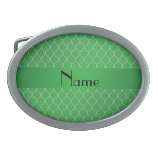 Personalized name green dragon scales oval belt buckles