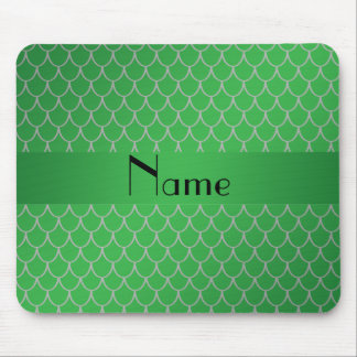 Personalized name green dragon scales mousepads