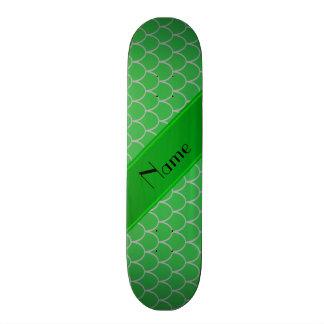 Personalized name green dragon scales skate decks