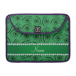 Personalized name green eye pattern sleeves for MacBooks